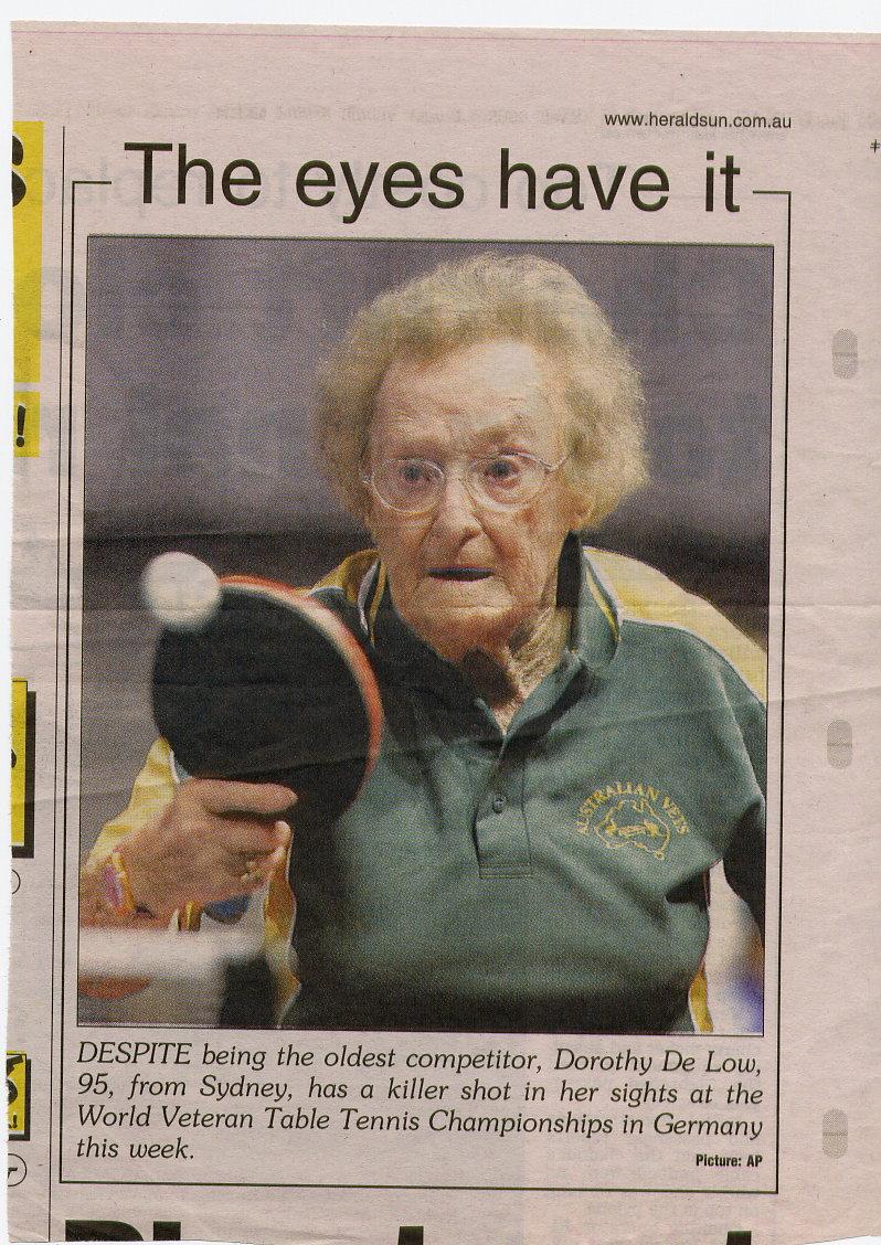 Dorothy De Low The Australian Veterans Table Tennis